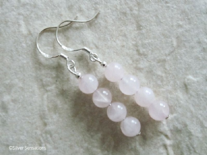 Baby Pink Rose Quartz Round Stack Sterling Silver Earrings